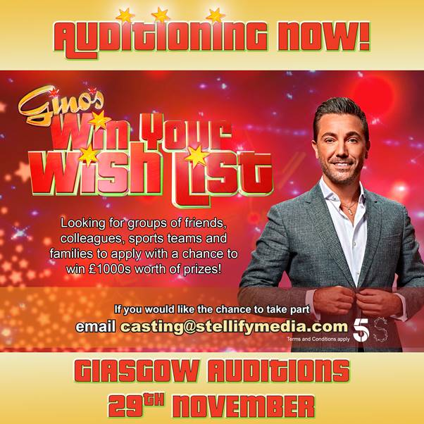Gino's Win Your Wish Listis coming to Glasgow