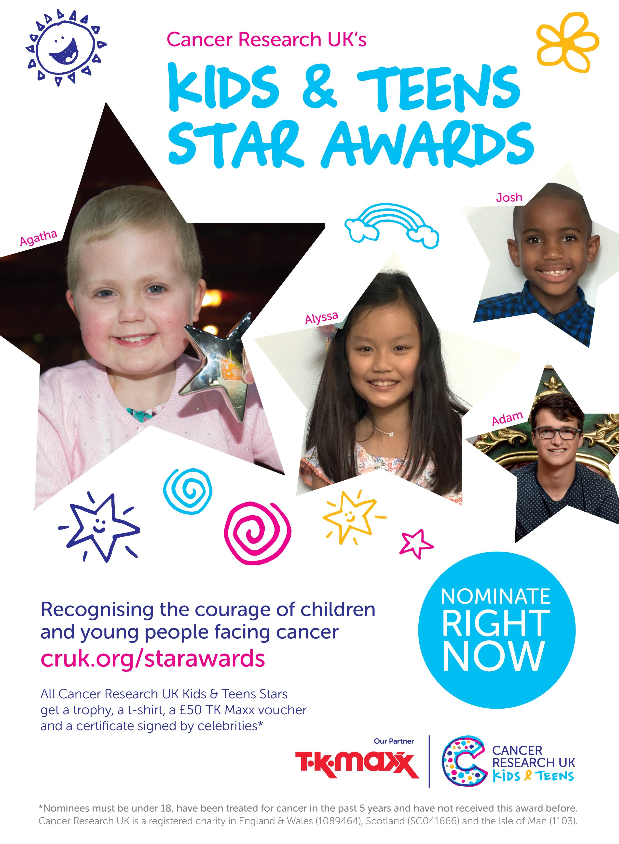 Cancer ResearchUK Star Awards 2018 poster which features Agatha King, aged seven, from Fife who has overcome leukaemia