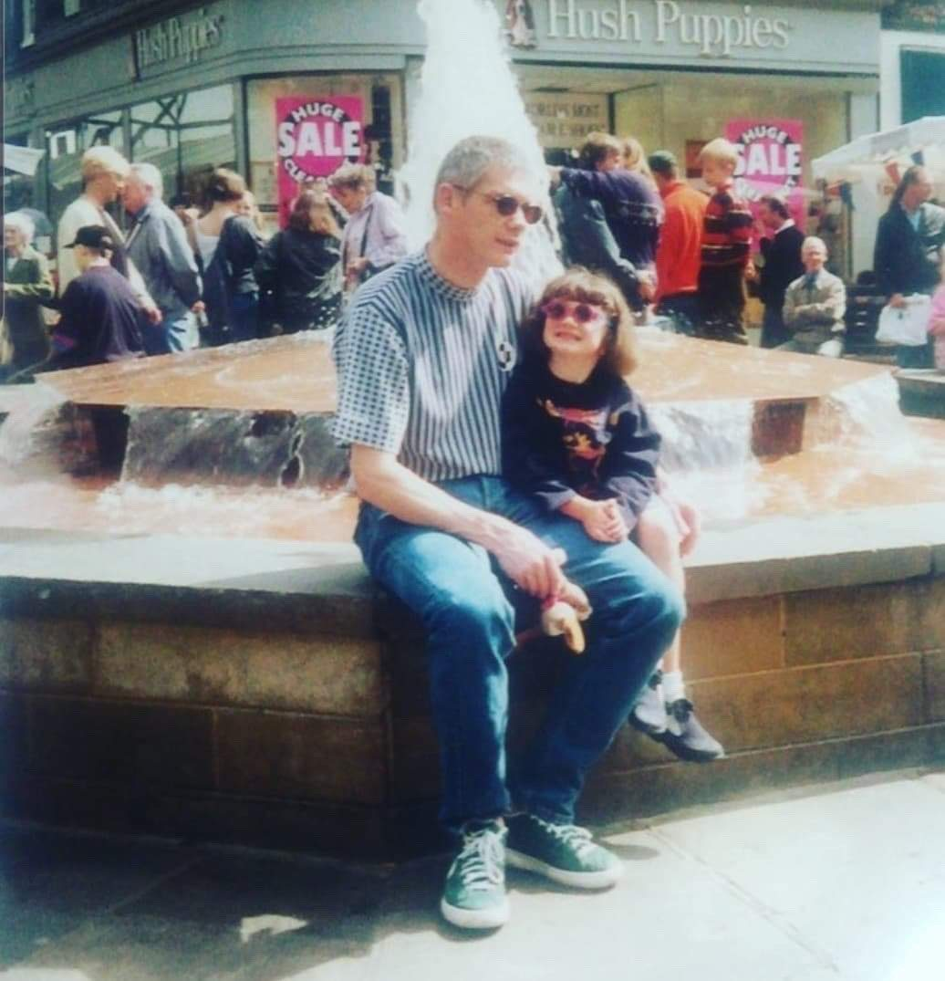 Sara as a wee girl with her dad who died from cancer