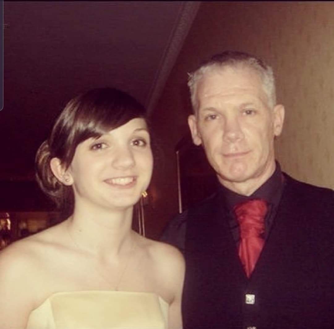 Sara with her dad on his wedding day