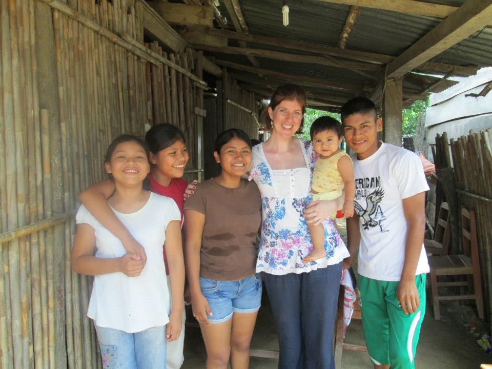 Rachel with some of the families she has helped in Bolivia