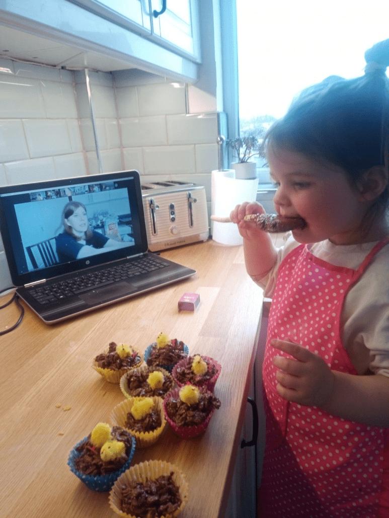 Rachel's student enjoying the bake a long